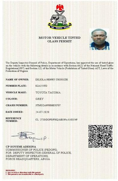 NPF Tinted glass permit sample