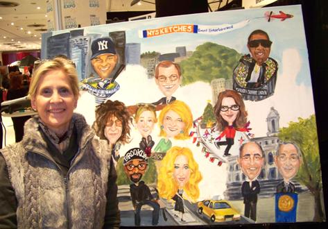 Attendee and her portrait next to Martha Stewart