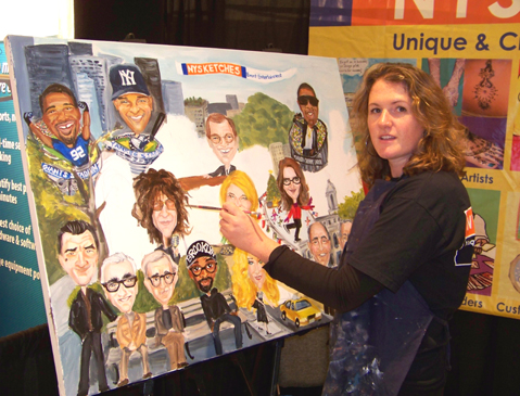 Rebecca Miller painting an Event Mural at BizBash