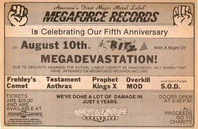 Flashback: Megaforce Records Fifth Anniversary Show at The Ritz - August  10, 1988 - NYS Music