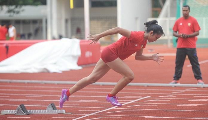 Atlet cabor Atletik Asian Games 2018 tengah berlatih di Stadio Madya Senayan. (Pras/NYSN)