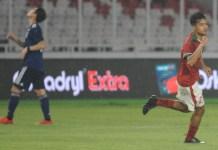 Ekspresi striker Timnas U-19 asal klub Bali United U-19, Aji Kusuma, usai mencetak gol ke gawang Timnas U-19 Jepang, pada laga uji coba di SUGBK, pada Minggu (25/3). (Pras/NYSN)