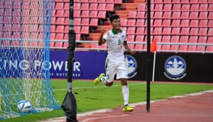 Sutan Zico, Striker Timnas U-16 mencetak gol tunggal dan meloloskan Indonesia ke babak final turnamen Jenesys. (topskor.id)