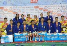 Tim Beregu Putra dan Putri Universitas Komputer Indonesia (Unikom) Bandung mengawinkan gelar Juara. (LIMA)