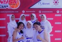 "Tim basket putri SMAN 13 Depok menang walk over (WO) atas tim SMA Yadika 2 Jakarta, pada lanjutan ""NYSN High School Basketball Cup 2018"". (Pras/NYSN)"
