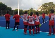 Timnas hoki putri Indonesia saat menjalani latih tanding di Lapangan Hoki, Senayan, Jakarta. (Adt/NYSN)