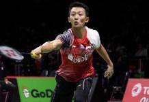 Ihsan Maulana memastikan Tim Thomas Indonesia menang 3-0 atas Kanada pada babak penyisihan Grup B, di Impact Arena Bangkok, Minggu (20/5). (bola.com)