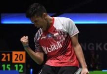 Pebulutangkis tunggal putra Indonesia, Firman Abdul Kholik, akhirnya memastikan kemenangan Tim Thomas Indonesia atas Korea Selatan 3-2. (tempo.co)