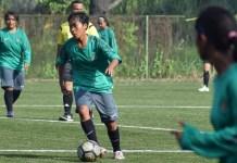 Timnas Putri Senior (hijau) dijadwalkan melakukan dua kali uji coba dengan klub putri asal Thailand, di Palembang, Sumsel. (Ham/NYSN).