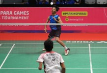 Atlet Disabilitas Bulutangkis asal Jawa Barat, Dheva Anrimusthi (biru), menjuarai Test Event Asian Para Games 2018 cabang Bulutangkis. (Pras/NYSN)