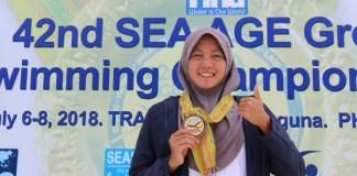 Atlet asal Jawa Timur, Adinda Larasati Dewi, menjadi perenang wanita terbaik kategori U 16-18 tahun dalam event 42nd SEA Age Group Swimming Championship 2018. (istimewa)