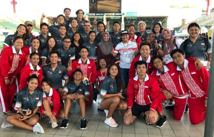 Indonesia meraih 15 medali emas, 17 perak, dan 8 perunggu, pada cabang olahraga renang ASEAN School Games Malaysia 2018, di Ehsan Aquatic Centre, Selangor Malaysia. (Humas PB RSI)