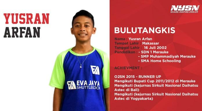Yusran Arfan, remaja asal Merauke ini salah satu peserta dari PB Racket yang berlokasi di Kembangan, Jakarta Barat.