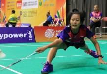 Tunggal putri tim beregu Indonesia, Putri Kusuma Wardani, bermain apik saat menyudahi perlawanan single Thailand, Phittayaporn Chaiwan, dalam tempo 43 menit, dengan skor 21-16 dan 21-17. (Humas PBSI)