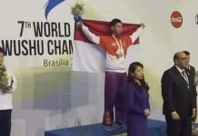 Remaja 14 tahun asal Surabaya, Jawa Timur, Jevon Lionel Koeswoyo, yang turun pada nomor Taijiquan B, merebut medali emas dalam Kejuaraan Wushu Dunia Junior 2018 di Brasilia, Brazil. (Humas PB Wushu Indonesia)