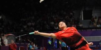 Tunggal pertama tim beregu putri Indonsia, Gregoria Mariska Tunjung, menang atas pebulutangkis asal Hongkong, Cheung Ngan Yi, dalam duel tiga set, 19-21, 21-8, dan 21-18, di partai 16 besar beregu putri bulutangkis Asian Games 2018. (Pras/NYSN)