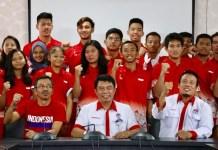 Kemenpora melepas keberangkatan tim pelajar Indonesia yang akan tampil dalam ajang 8th Asian School Basketball Championship, Kamis (6/9). Bertempat di GOR Among Rogo, Yogyakarta, event ini akan dihelat dari 7 hingga 15 September 2018. (Kemenpora)