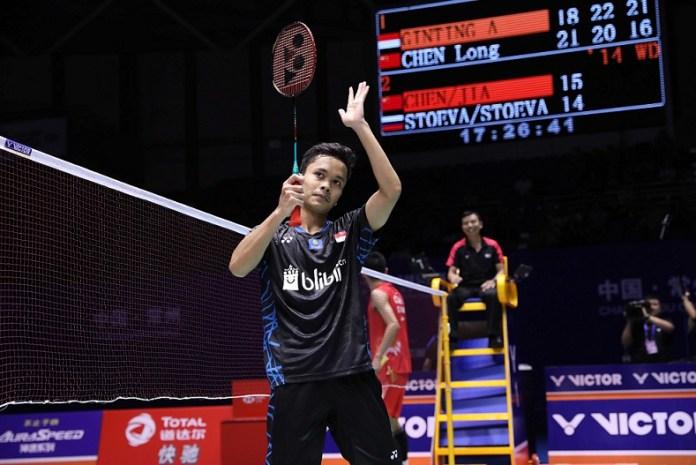 Pebulu tangkis tunggal putra Indonesia, Anthony Sinisuka Ginting, punya bekal positif menuju semifinal China Open 2018, usai mengalahkan trio juara dunia dalam tiga hari. (Humas PBSI)