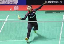 Atlet putri Pelatnas PBSI Cipayung asal Sleman, Choirunnisa, takluk dari unggulan pertama Indonesia Masters 2018 asal Jepang, Minatsu Mitani, dalam partai rubber game, 16-21, 21-16 dan 18-21. (Humas PBSI)