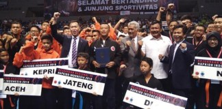 Kejuaraan Nasional (Kejurnas) Hapkido Indonesia yang ketiga kalinya, resmi digelar di Britama Arena, Kelapa Gading, Jakarta Utara, Minggu (6/9). Kejurnas Hapkido Indonesia diikuti 242 peserta. (liputan.com)
