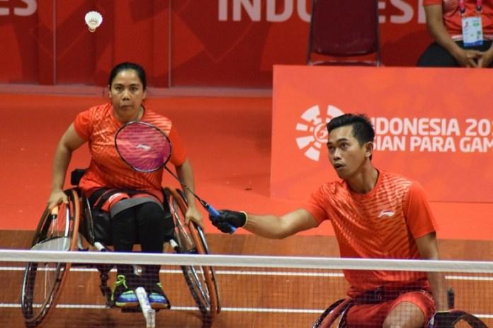 Duet Supriadi/Sri Maryati takluk dari wakil Korea Selatan, Lee Dong Seop/Lee Sun Ae, pada laga bulutangkis kursi roda (wheelchair) nomor perorangan Asian Para Games III/2018, di Istora Senayan, Jakarta, pada Sabtu (6/10). (Pras/NYSN)