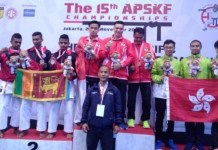 Tim Kata beregu putra Indonesia yang terdiri dari Erlando Stefano, Muhammad Wisnu Hidayat dan Chogun Miyagi, meraih emas di hari pertama ajang 15 Asia Pasific Shitoryu Karate-do Federation (APSKF) 2018 yang digelar di Britama Arena, 23-24 November 2018. (tribunnews.com)