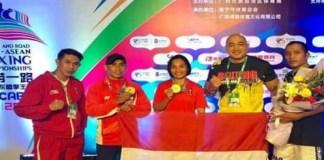 """Tim tinju Indonesia akhirnya berhasil menyabet dua medali emas dalam kejuaraan tinju """"The Belt and Road China-ASEAN Boxing Championship"""" di Kota Nanning, Guangxi, China, yang berlangsung pada 24-25 November 2018. (beritabali.com)"""