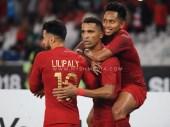 Beto melakukan selebrasi gol setelah menjebol gawang Timor Leste dalam Piala AFF Suzuki Cup 2018. Indonesia memenangkan laga tersebut dengan skor 3-1 yang berlangsung di Gelora Bung Karno, Jakarta. 13/11/2018.