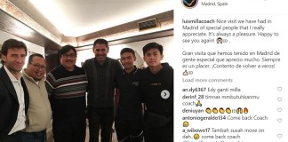 Bintang Timnas U-16, Rendy Juliansyah (paling kanan), bertemu dengan mantan pelatih Timnas Indonesia, Luis Milla dan legenda Real Madrid, Fernando Hierro, di Spanyol, pada Jumat (14/12). Momen ini diunggah oleh Milla di akun instagram pribadinya. (instagram)