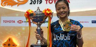 Fitriani menjuarai ajang pembuka musim BWF World Tour, Thailand Masters 2019 (super 300). Ani, sapaannya, juga memecahkan rekor gelar juara tunggal putri non-Thailand, untuk turnamen berhadiah total 150 ribu dolar AS itu. (Humas PBSI)
