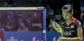 Usai mengalahkan wakil Hong Kong, Deng Joy Xuan, dengan rubber game, 12-21, 21-19 dan 21-16, di Arena Huamark Indoor Stadium, Bangkok, pada Sabtu (12/1), atlet kelahiran Garut, Jawa Barat, 27 Desember 1998, Fitriani, menembus babak final tunggal putri Thailand Masters 2019. (antarafoto.com)