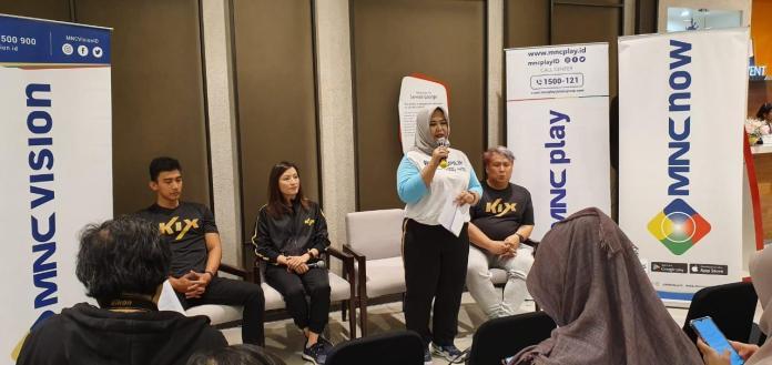 Adita Widyansari, Subscriber Management, Product, and Marketing Director PT MNC Kabel Mediacom menyampaikan pembukaan saat sesi media interview di Public Audition KIX 'R U Tough Enough Southeast Asia' 2019 di Jakarta, Indonesia, Minggu (21/7)
