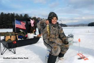 Ice fishing at Grafton Lakes State Park. Photo by OPRHP.