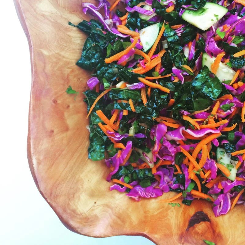 chopped asian kale salad with honey lime dressing
