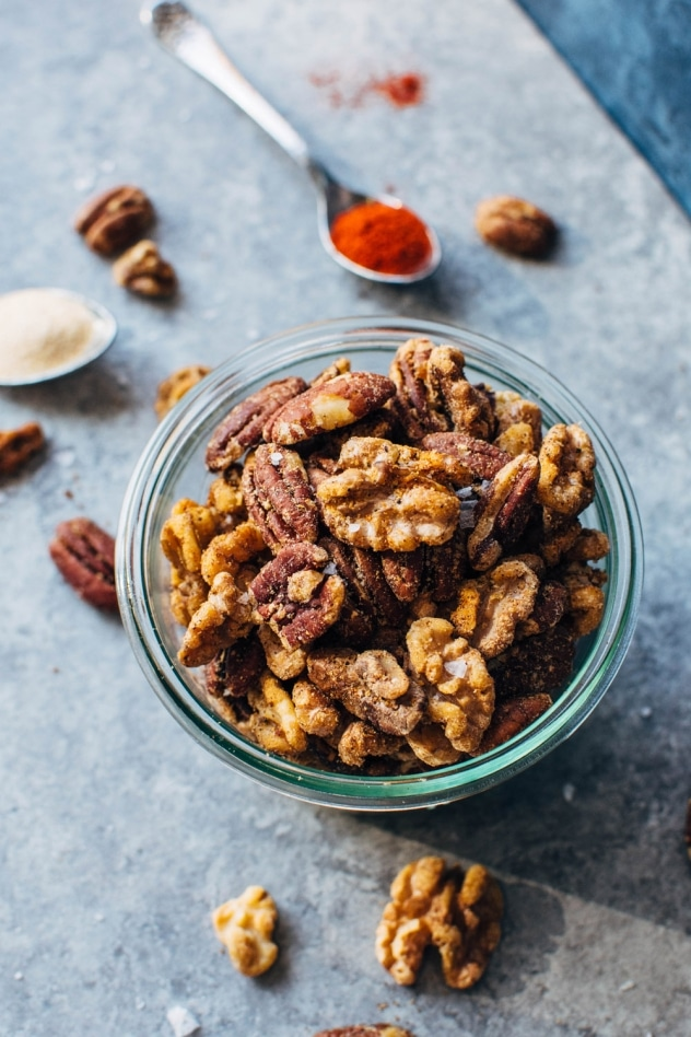 Tasty spiced snacking nuts are so easy to make and just the perfect amount of crispy bite and spice! Clean snacking at it's BEST!