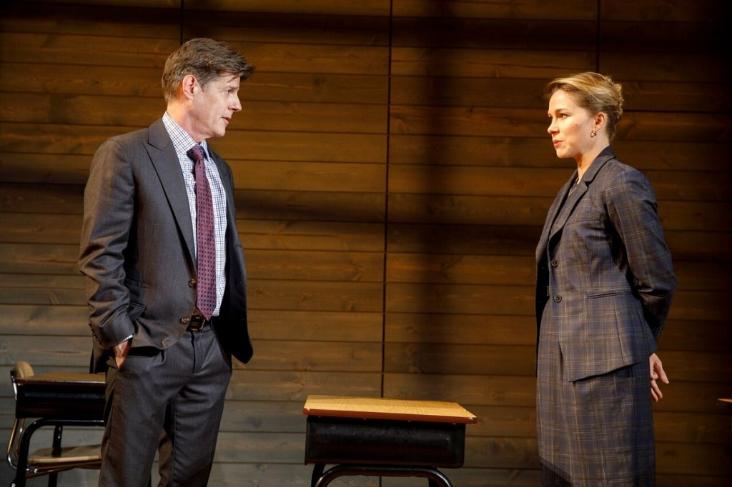 Rick Holmes and Kristen Bush square off in the opening scene of Dan Cody's Yacht. Photo: Joan Marcus</I>