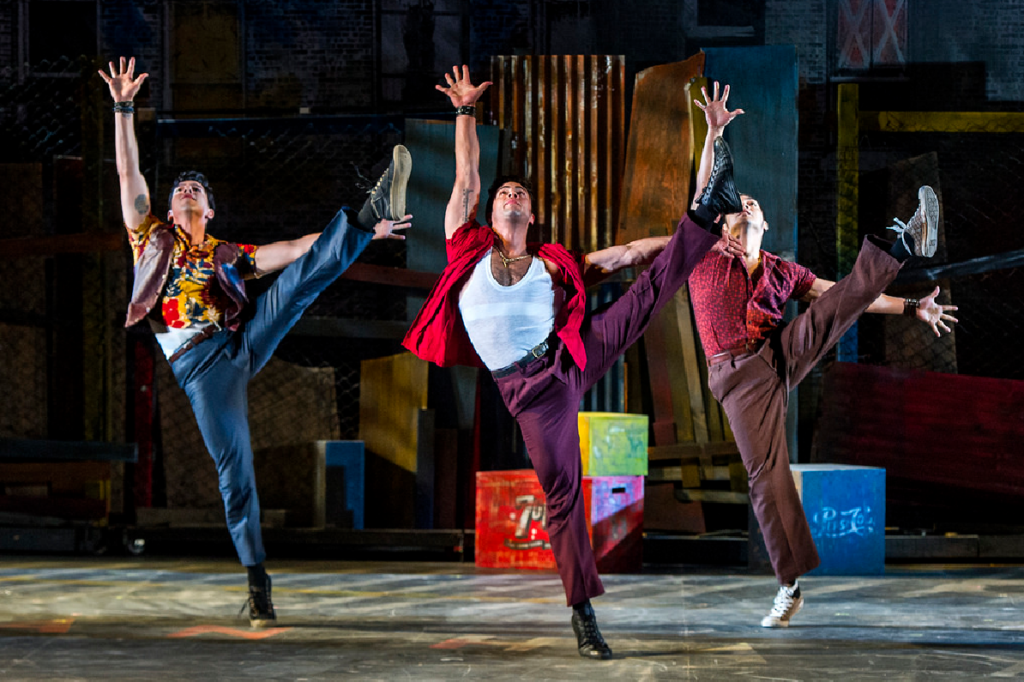 Danny Bevins, Sean Ewing, and Julio Catano-Yee in West Side Story. Photo: Daniel Rader