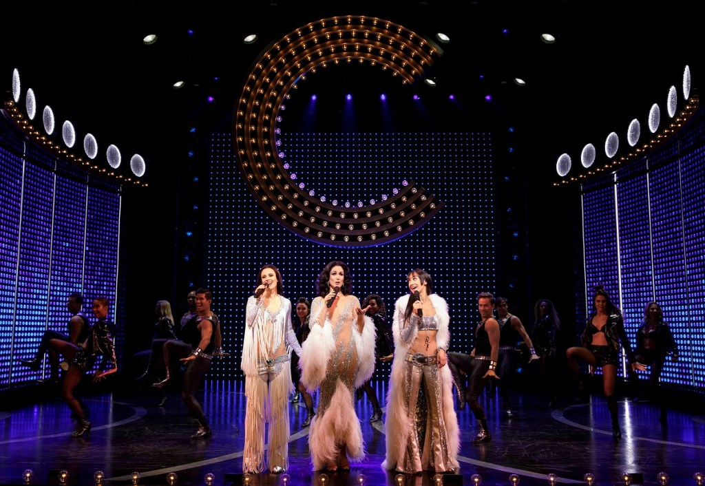 <I>Teal Wicks, Stephanie J. Block, and Micaela Diamond play the title figure of The Cher Show. Photo: Joan Marcus</I>