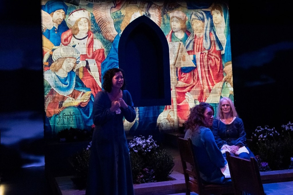 Amy Berryman, Samantha Soule and Wendy vanden Heuvel in a scene from The Convent. Photo: Ahron R. Foster