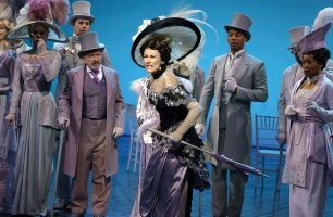 Laura Benanti, center, with Allan Corduner (left) and Christian Dante White (right) in My Fair Lady. Photo: Joan Marcus.