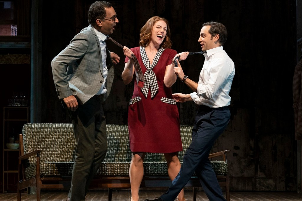 Manu Narayan, Ben Steinfeld, and Jessie Austrian in Merrily We Roll Along. Photo: Joan Marcus