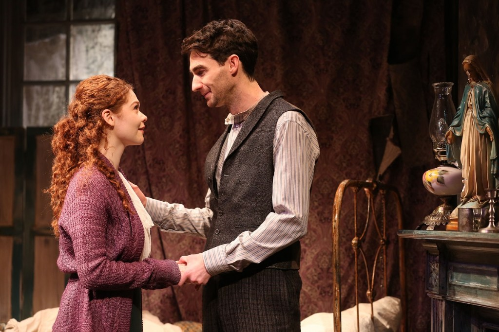 Meg Hennessy, left, and James Russell in <i>The Shadow of a Gunman.</i> Photo: Carol Rosegg.