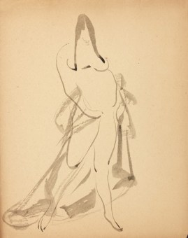 Standing Woman, Draped, c. 1908-12, wash on paper, 10 x 8 in.