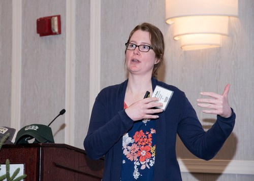 Sarah Walsh, NYS DEC Trees for Tributaries Coordinator, gave the audience some background on the Trees for Tribs program and encouraged applicable communities to participate.