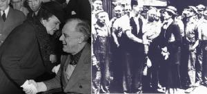Secretary of Labor Frances Perkins guided the New Deal, whether it was advising FDR (left) or supporting Collective Bargaining rights of Pennsylvania Steelworkers (right, with hat on shaking hands)