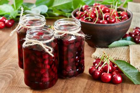 cherry-on-wooden-background-in-the-jars