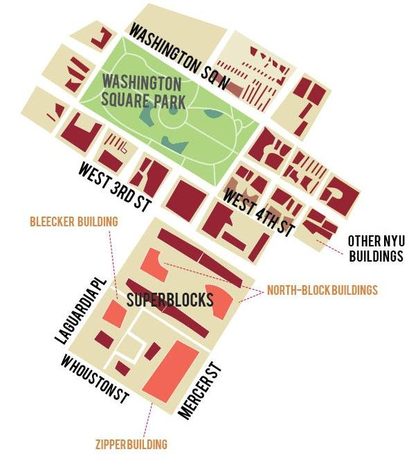 NYU plans to build on the superblocks shown above as part of the 2031 Expansion Plan.