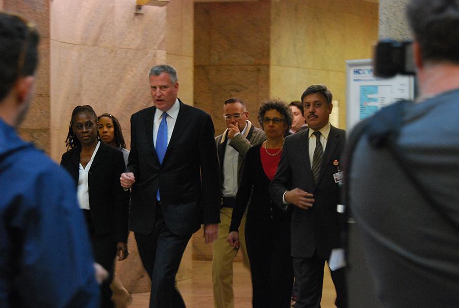 Mayor Bill De Blasio spoke at Bellevue Hospital on Sunday to address concerns about ebola.