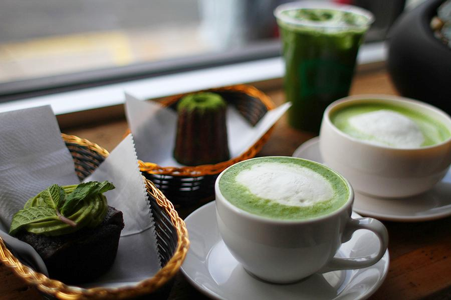 Matchabar's specialties, a chocolate cupcake with matcha icing, a matchaccinno, iced matcha and a matcha latte, like almost everything else in the cafe, promote and glorify the incredibly nutritious powder form of the green tea leaf.