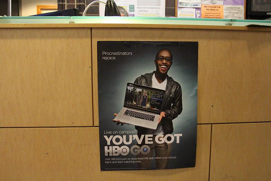 A poster in Third North Residence Hall advertises the HBO Go, which is now available in several residence halls.